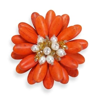 Handmade Double Sunflower Stone and Pearl Floral Pin or Brooch (Thailand)|https://ak1.ostkcdn.com/images/products/9195834/P16368328.jpg?impolicy=medium