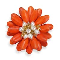 Handmade Double Sunflower Stone and Pearl Floral Pin or Brooch (Thailand)