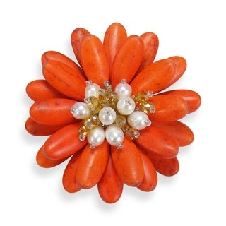 Handmade Double Sunflower Stone and Pearl Floral Pin or Brooch (Thailand) (Option: Orange-white)