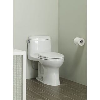 Toto UltraMax II One-Piece Elongated 1.28 GPF Universal Height Toilet with CeFiONtect, Cotton White (MS604114CEFG#01)
