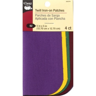 Iron-On Twill Patches 5inX5in 4/Pkg-School Colors