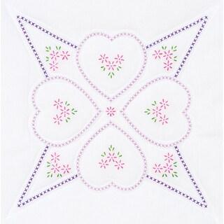 Stamped White Quilt Blocks 18inX18in 6/Pkg-Four Hearts