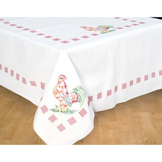 Stamped White Table Cloth 50inX70in-Rooster
