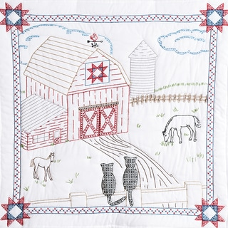 Stamped White Wall Or Lap Quilt 36inX36in-Barn