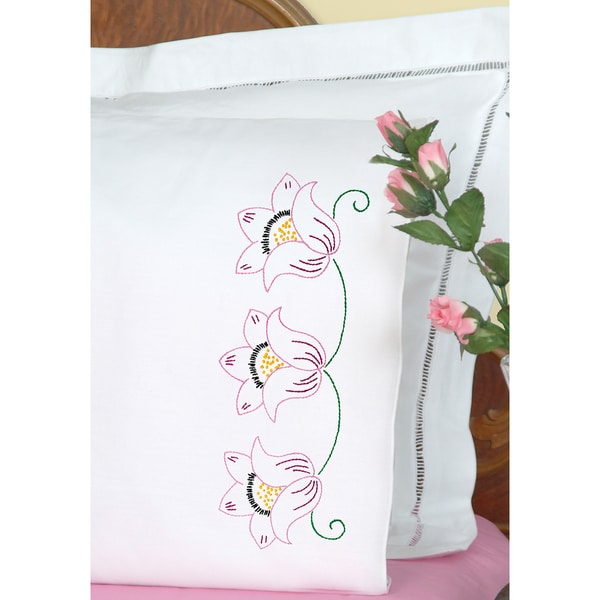 Stamped Pillowcases With White Perle Edge 2/Pkg-Three Flowers