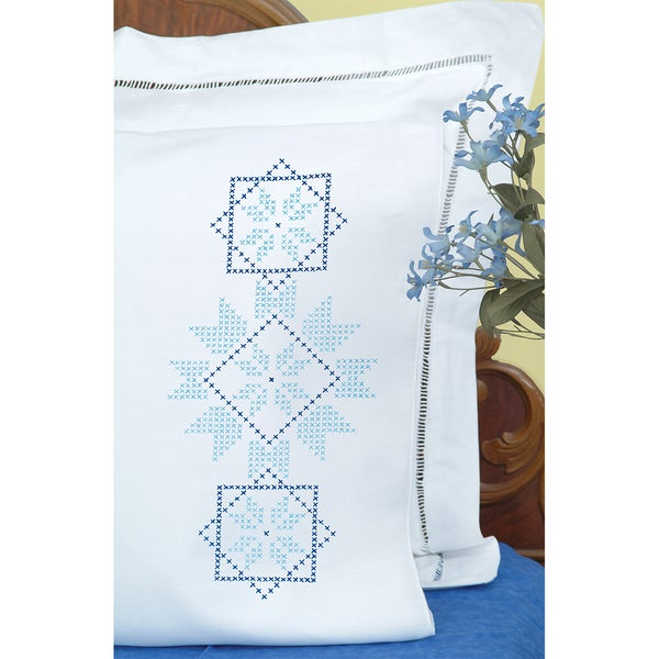 Stamped Pillowcases With White Perle Edge 2/Pkg-XX Star