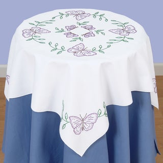 Stamped White Perle Edge Table Topper 35inX35in-Butterflies