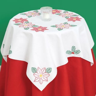 Stamped White Perle Edge Table Topper 35inX35in-Poinsettias