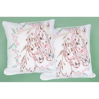 Stamped White Pillowtops 15inX15in 2/Pkg-Mare & Colt
