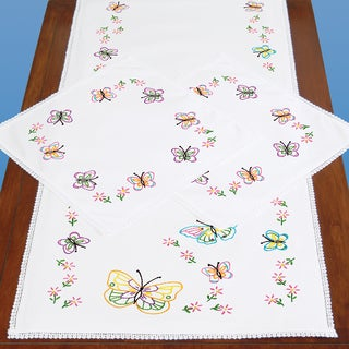 Stamped Dresser Scarf & Doilies Lace Edge-Fluttering Butterflies