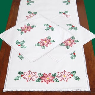 Stamped Dresser Scarf & Doilies Lace Edge-Poinsettias