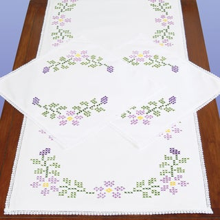 Stamped Dresser Scarf & Doilies Lace Edge-XX Starflowers