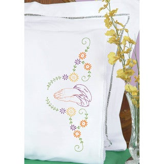 Stamped Pillowcases With White Lace Edge 2/Pkg-Hands