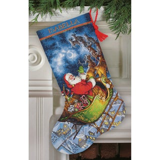 Gold Collection Santa's Flight Stocking Counted Cross Stitch-16in Long 16 Count