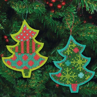 Jolly Tree Ornaments Felt Counted Cross Stitch Kit-4inX5-1/8in 9 Count