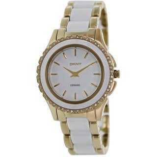 Dkny Women's NY8829 Two-tone Ceramic Analog Quartz Watch with White Dial