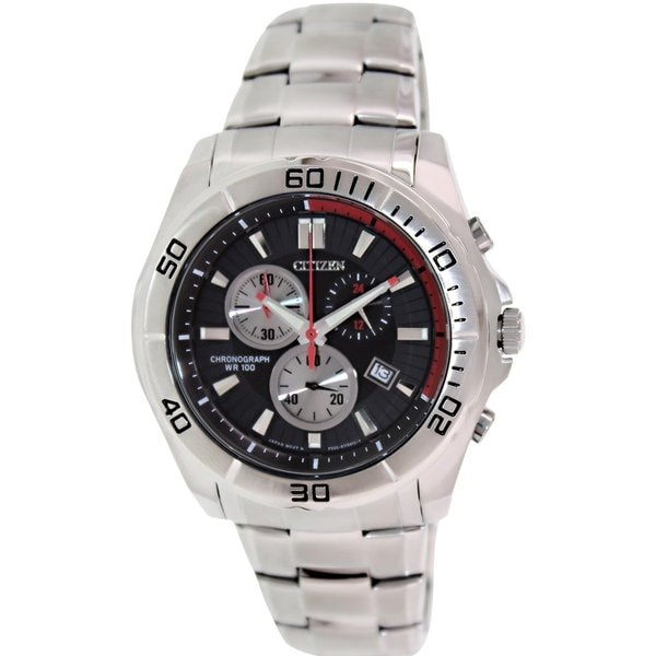e5cad3eed Shop Citizen Men's Chronograph Silvertone Stainless Steel Quartz Watch with Black  Dial - Free Shipping Today - Overstock - 9196054