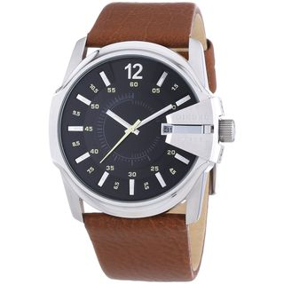 Diesel Men's Master Chief DZ1617 Brown Leather Quartz Watch with Grey Dial