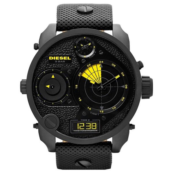 Diesel Men's Mr. Daddy Black Leather Quartz Watch with Black Dial