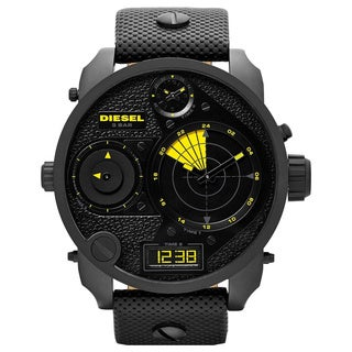 Diesel Men's Mr. Daddy DZ7296 Black Leather Quartz Watch with Black Dial