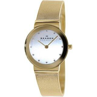 Skagen Women's 358SGGD Goldtone Stainless Steel Quartz Watch with Silvertone Dial|https://ak1.ostkcdn.com/images/products/9196122/P16368510.jpg?impolicy=medium