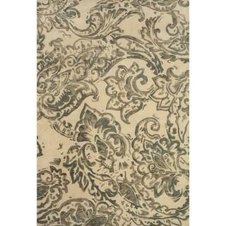 Grand Bazaar Tufted Wool Pile Glendora Rug in Ivory/ Grey (5' x 8')