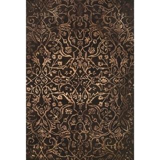 Grand Bazaar Tufted Wool Pile Beloha Rug in Brown/ Light Brown (5' x 8') - 5' x 8'