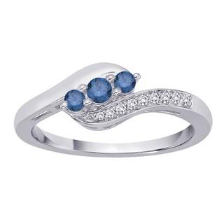 10k White Gold 1/4ct TDW Blue and White Diamond Fashion Ring