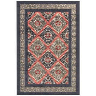 "Grand Bazaar Power Loomed Viscose Azize Rug in Cream/Charcoal 5'-3"" X 7'-6"" - 5'3"" x 7'6"""
