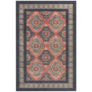 "Grand Bazaar Power Loomed Viscose Azize Rug in Cream/Charcoal 5'-3"" X 7'-6"""