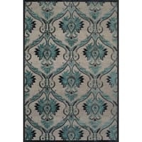 "Grand Bazaar Power Loomed Viscose Demara Rug in Pewter / Charcoal 5'-3"" X 7'-6"""