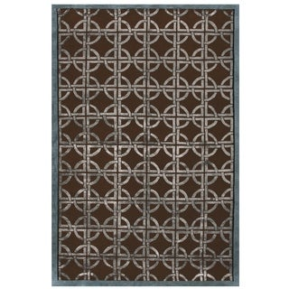 Grand Bazaar Hand-knotted Wool and Viscose Tao Rug in Chocolate/ Steel (5'6 x 8'6)