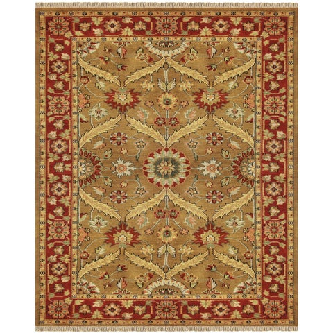 """Grand Bazaar Hand-knotted 100-percent Wool Pile Pietra Rug in Gold/Red 7'-9"""" x 9'-9"""" - 7'-9"""" x 9'-9"""""""
