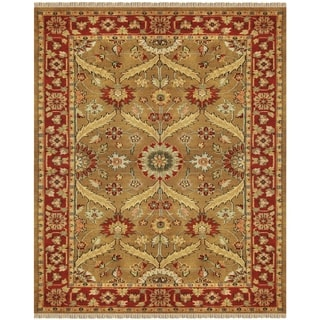 "Grand Bazaar Hand-knotted 100-percent Wool Pile Pietra Rug in Gold/Red 7'-9"" x 9'-9"""
