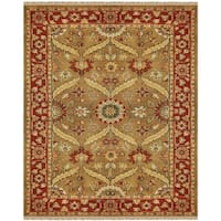 "Grand Bazaar Hand-knotted 100-percent Wool Pile Pietra Rug in Gold/Red 7'-9"" x 9'-9"" - 7'-9"" x 9'-9"""
