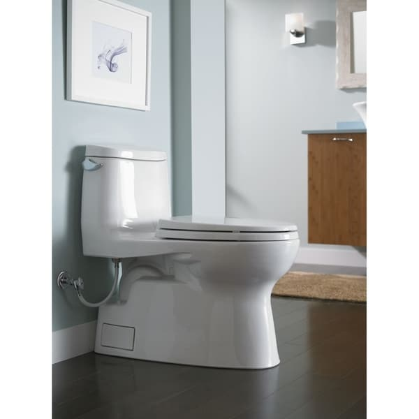 Toto Carlyle II One-Piece Elongated 1.28 GPF Universal Height Skirted Toilet with CeFiONtect, Cotton White (MS614114CEFG#01)