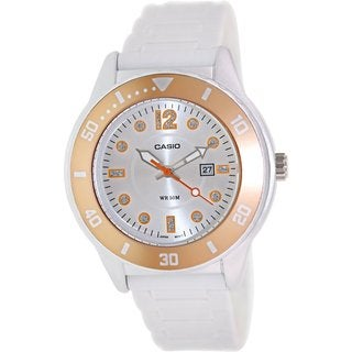 Casio Women's Core LTP1330-4A2V White Resin Quartz Watch with Silvertone Dial