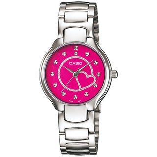 Casio Women's Core LTP1337D-4A Silvertone Stainless Steel Quartz Watch with Pink Dial