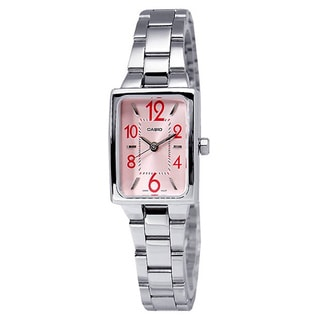 Casio Women's Core LTP1294D-4A Silvertone Stainless Steel Quartz Watch with Pink Dial