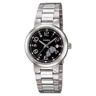 Casio Women's Core LTP1292D-1A Silvertone Stainless Steel Quartz Watch with Black Dial