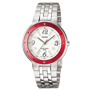 Casio Women's Core LTP1318D-4AV Silvertone Stainless Steel Quartz Watch with White Dial