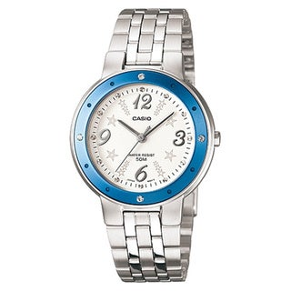 Casio Women's Core LTP1318D-2AV Silvertone Stainless Steel Quartz Watch with White Dial