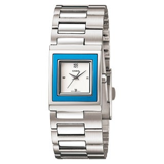 Casio Women's Core LTP1317D-2C Silvertone Stainless Steel Quartz Watch with White Dial