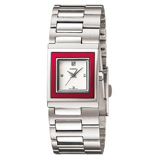 Casio Women's Core LTP1317D-4C Silvertone Stainless Steel Quartz Watch with White Dial
