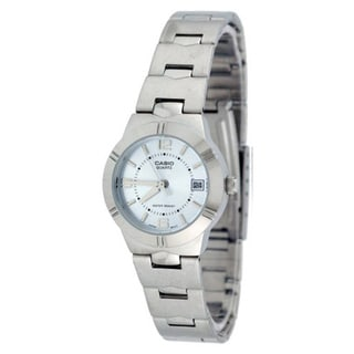 Casio Women's Core LTP1241D-2A Silvertone Stainless Steel Quartz Watch with Blue Dial