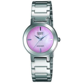 Casio Women's Core LTP1191A-4C Silvertone Stainless Steel Quartz Watch with Pink Dial