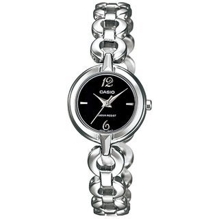 Casio Women's Core LTP1349D-1C Silvertone Stainless Steel Quartz Watch with Black Dial