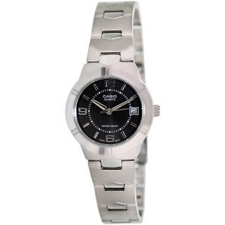 Casio Women's Core LTP1241D-1A Silvertone Stainless Steel Quartz Watch with Black Dial