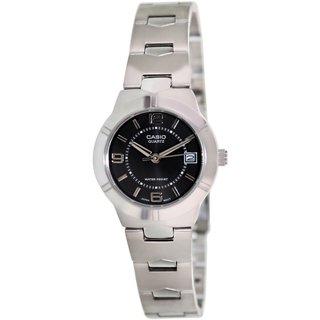 Casio Women's Core LTP1241D-1A Silvertone Stainless Steel Quartz Watch with Black Dial