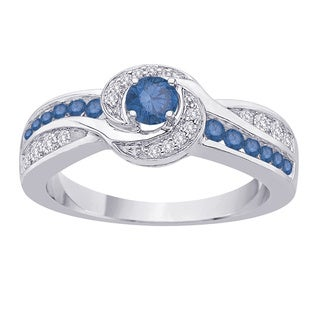 10k White Gold 2/3ct TDW Blue and White Diamond Engagement Ring (G-H, I2-I3)